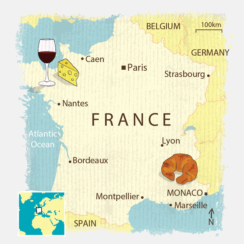 Creative illustrated France map