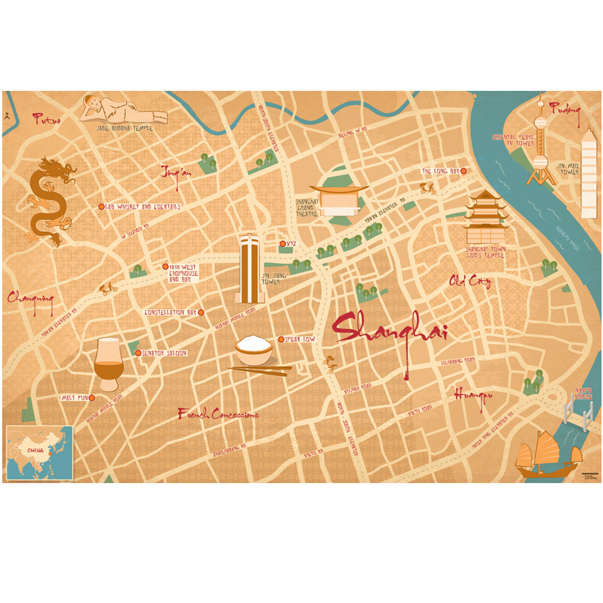 Shanghai city illustrated guide map