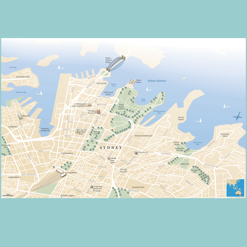 Sydney City illustrated guide map