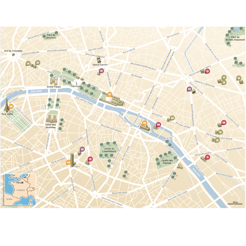 Paris guide city map illustration