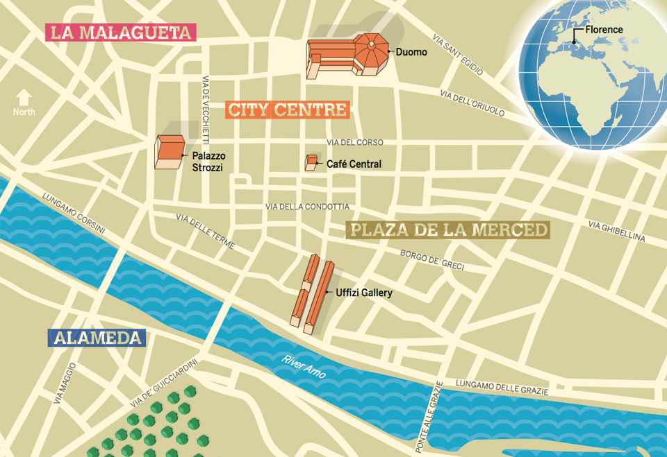 Creative illustrated city guide map