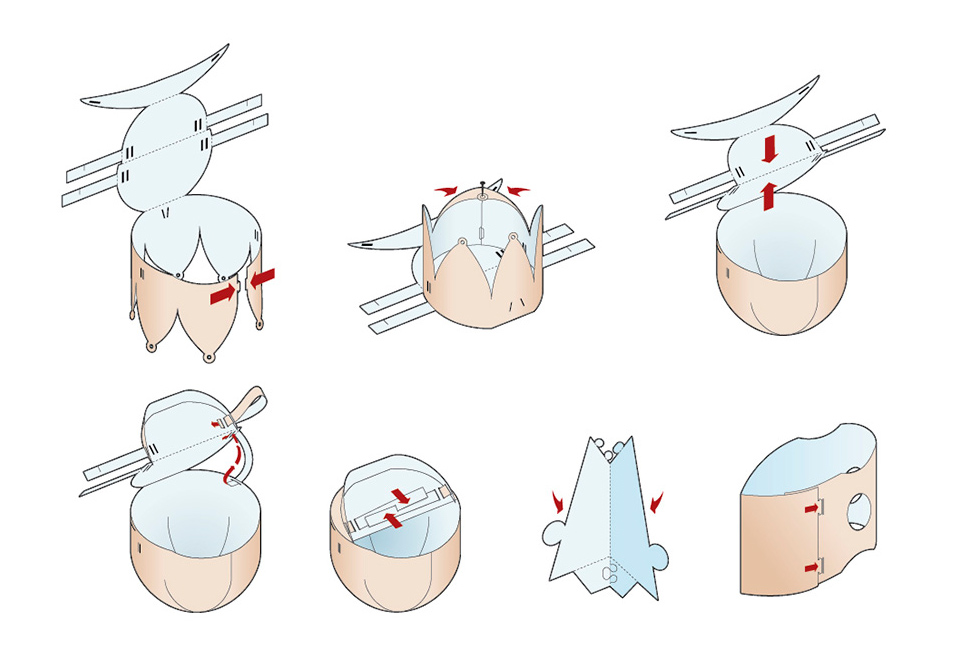 Instructional graphic showing how to construct a paper puppet